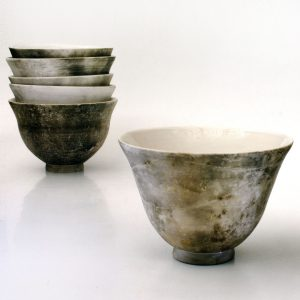 Translucent porcelain bowls, smoke fired with indigenous Fynbos