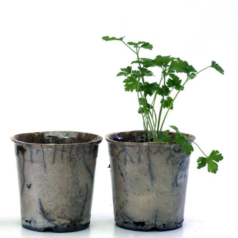 Raku planters by Cape Town ceramist Amelia Jacobs