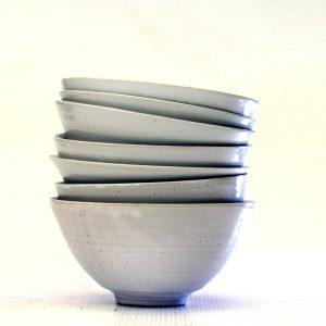 Stacked stoneware bowls